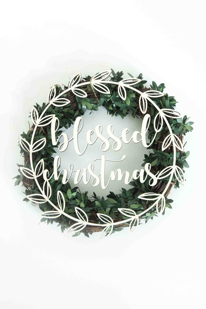 Blessed Christmas Wreath Plaque