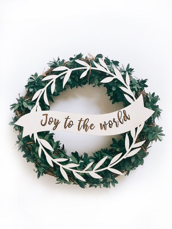 Joy To The World Christmas Wreath Plaque