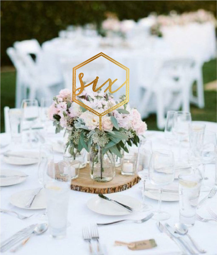 Double Hex Wedding Table Number Signage
