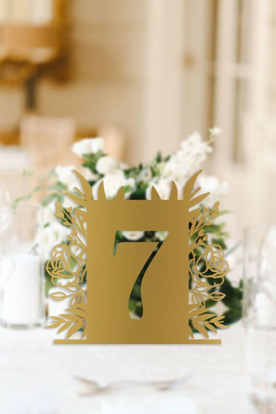 Floral Wedding Table Number Signage - Urban Li'l