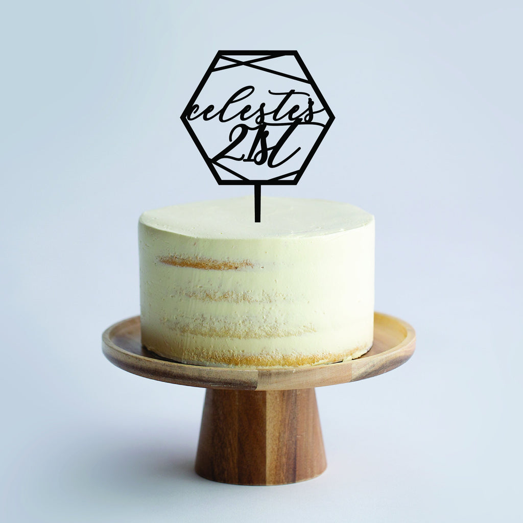 Custom Geometric Hex Cake Topper