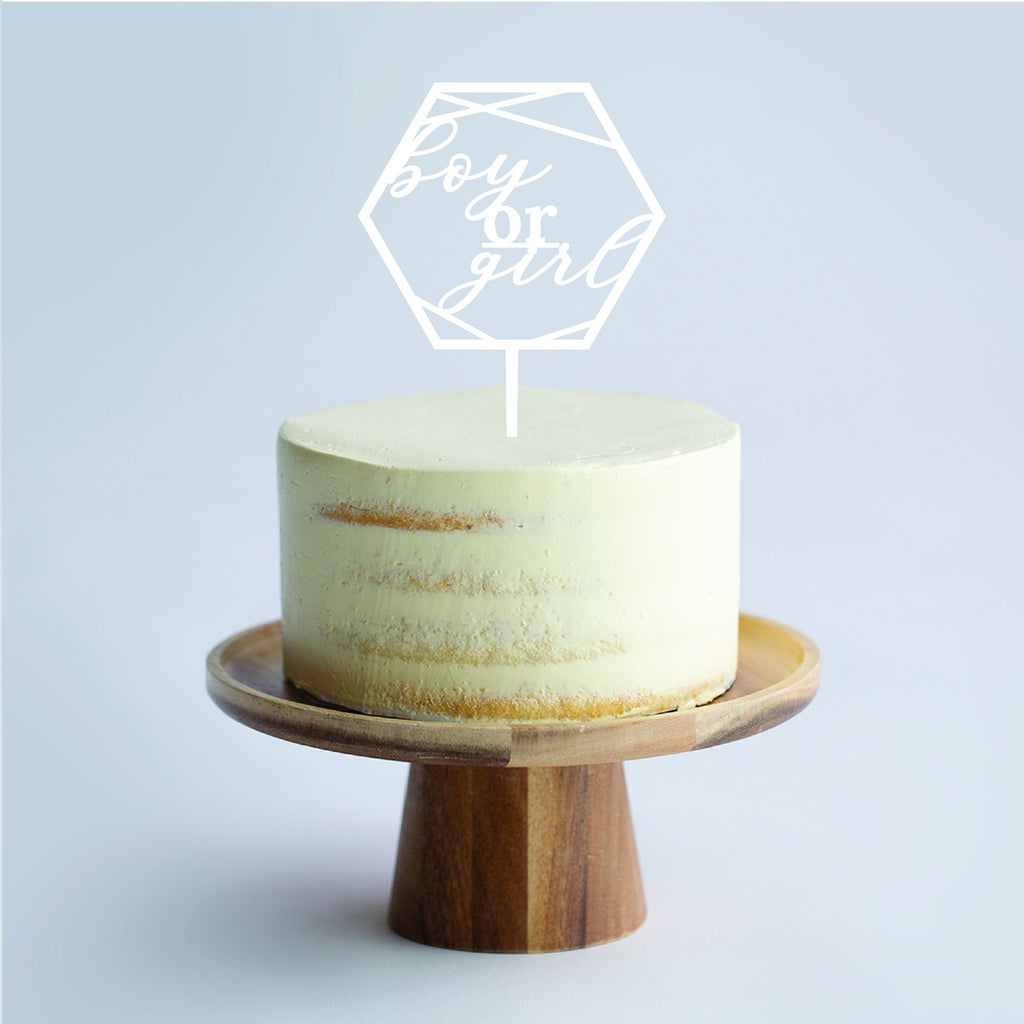 Custom Geometric Hex Cake Topper - Urban Li'l