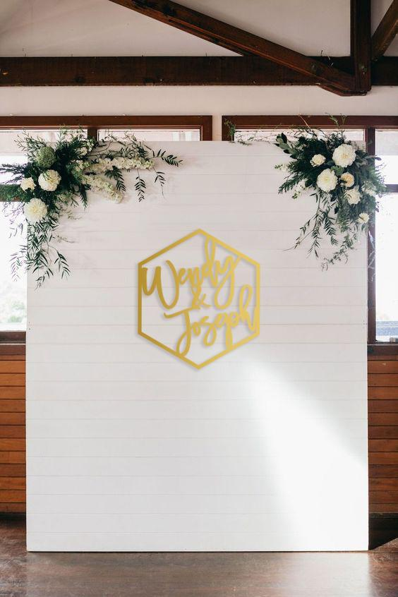 Hexagon Wedding Signage Backdrop