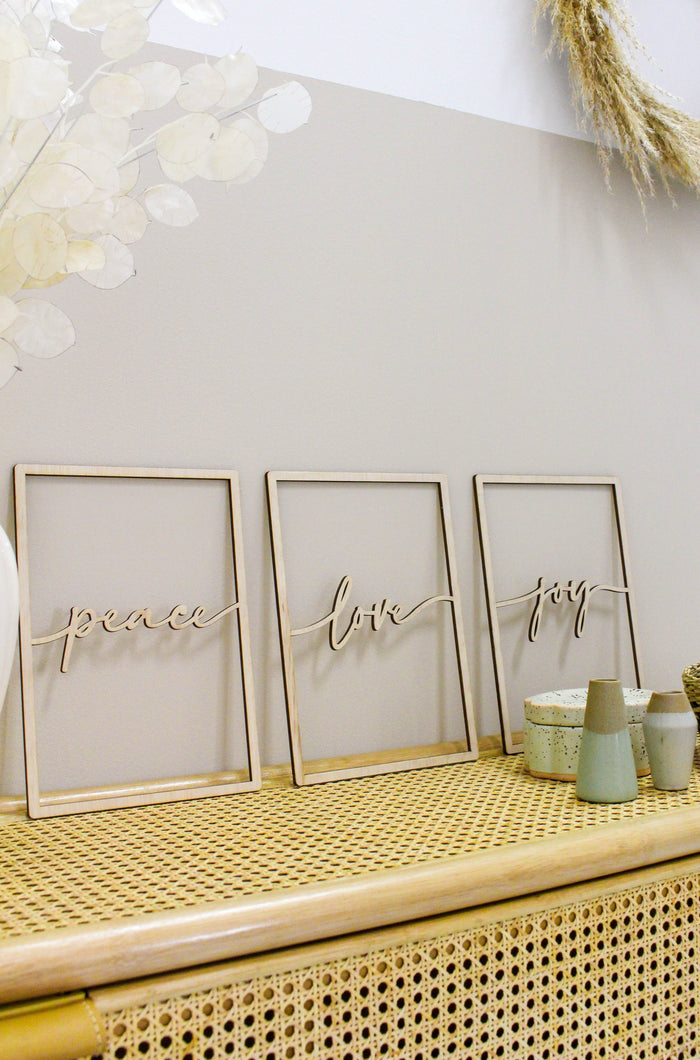 Framed Calligraphy Swirl Plaque - Set of 3