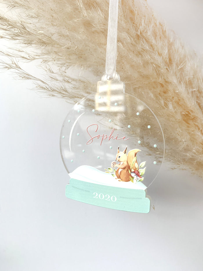 Squirrel Snow Globe Ornament