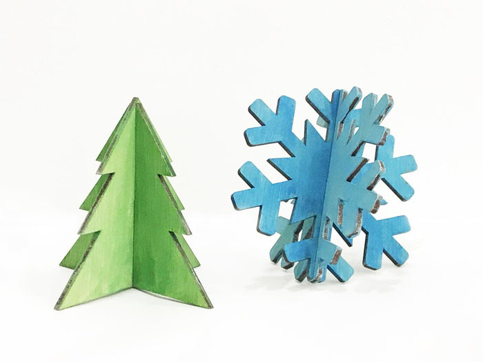 'Snowy' Christmas Craft Kit in Plywood, 10cm
