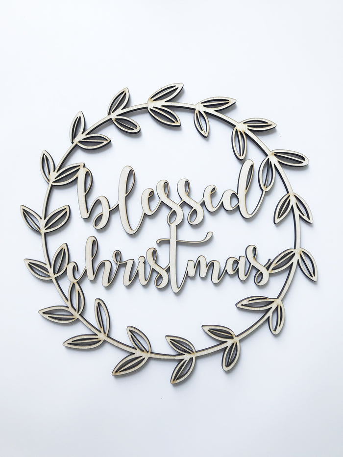 'Blessed Christmas' Christmas Plaque in Plywood, 30cm