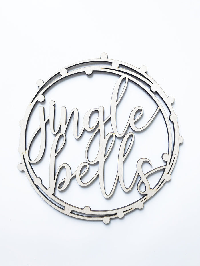 'Jingle Bells' Christmas Plaque in Plywood, 30cm