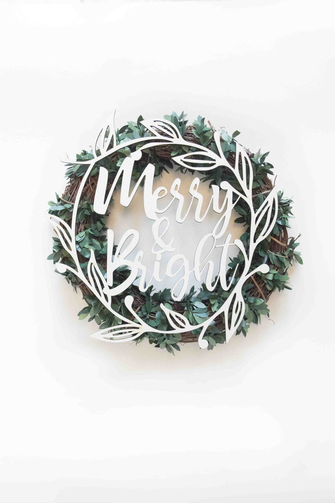 Merry And Bright Christmas Wreath Plaque