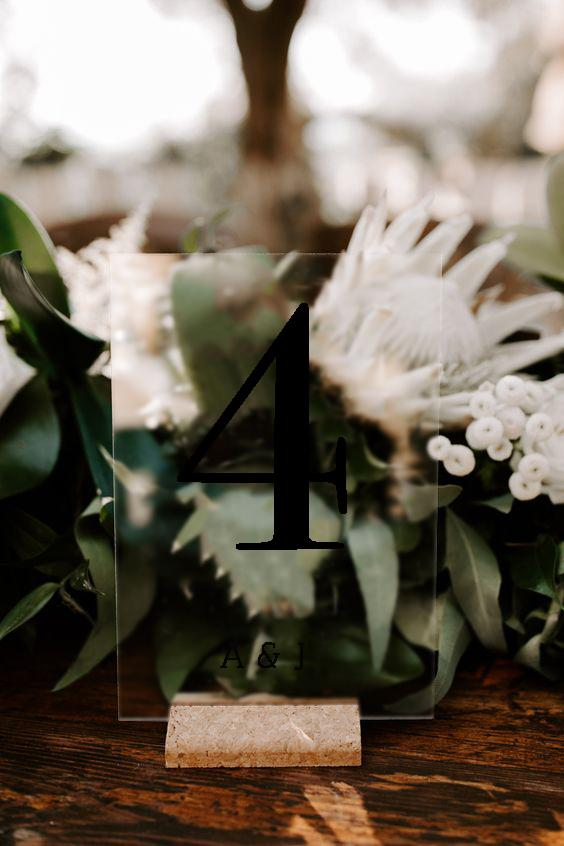 Minimal Wedding Table Number Signage