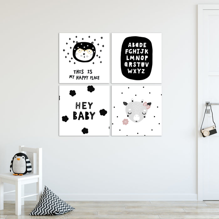Monochrome Nursery Canvas Set