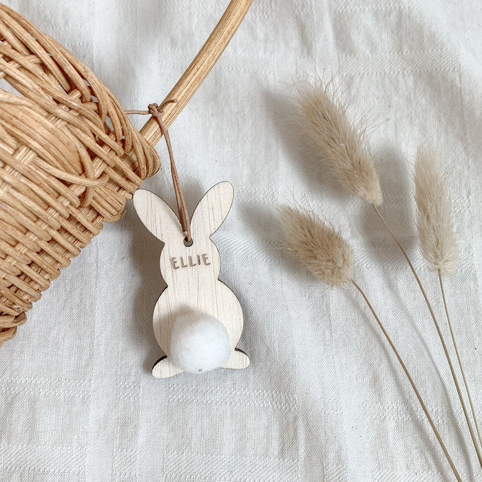 Pom Pom Bunny Basket Name Tag