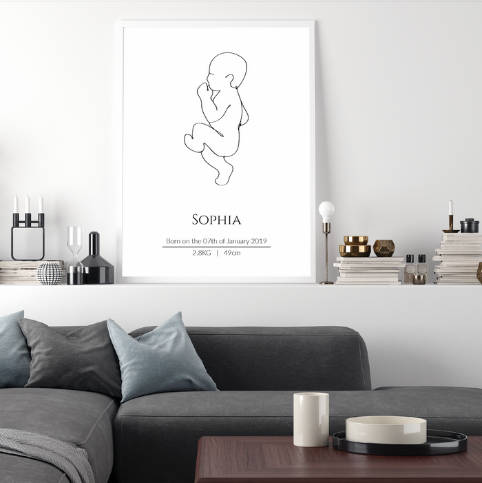 Continuous Line Birth Poster - Upright
