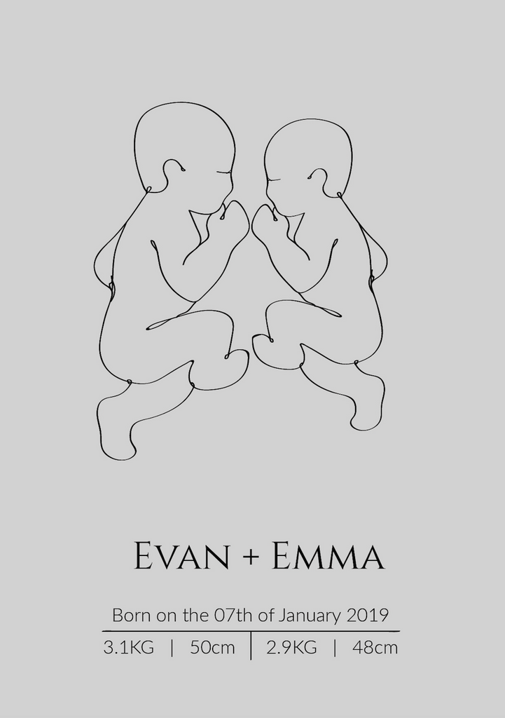 Continuous Line Birth Poster - Twins / Siblings