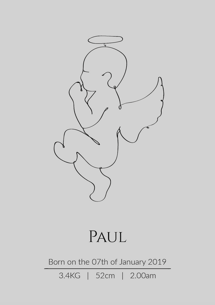 Continuous Line Birth Poster - Angel Baby