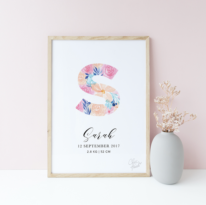 Watercolor Florals Birth Poster by ChezHemdi - Urban Li'l