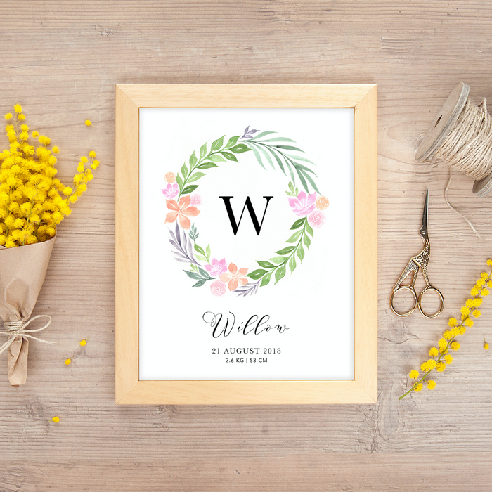 Watercolor Wreaths Birth Poster by ChezHemdi - Urban Li'l