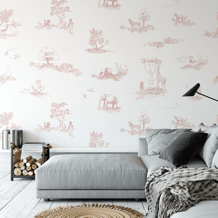 Toile de Jouy Safari Wallpaper