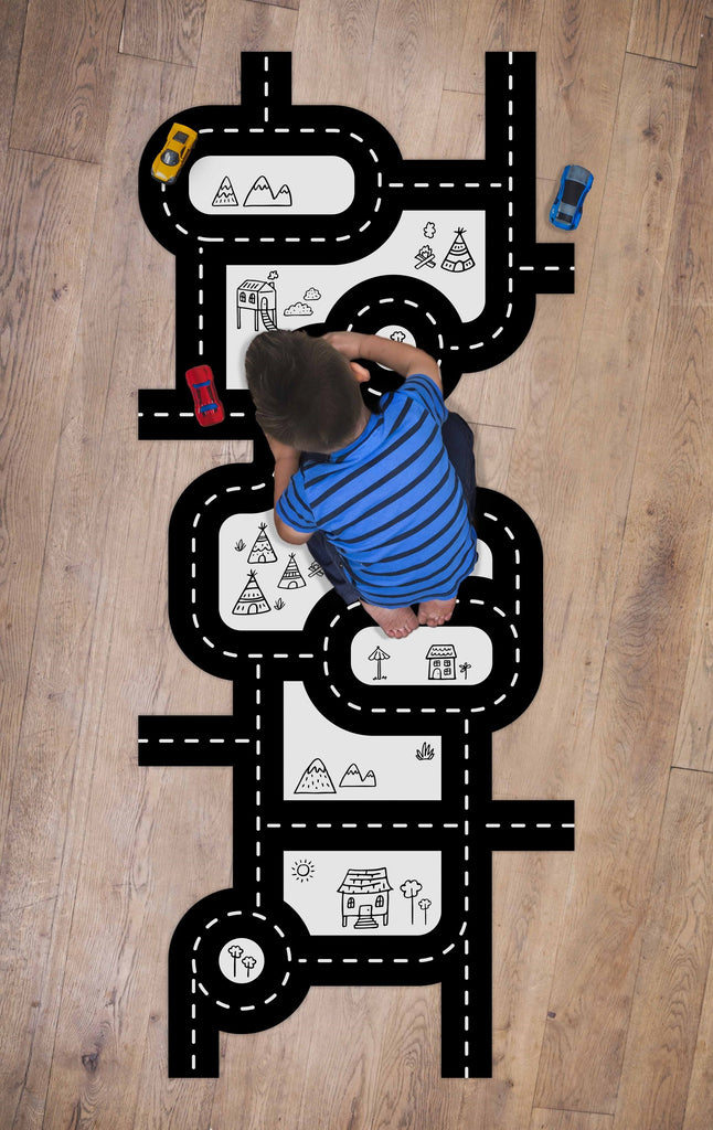 Car Track Fabric Floor Decal