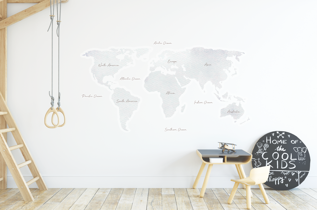Watercolour World Map Fabric Decal