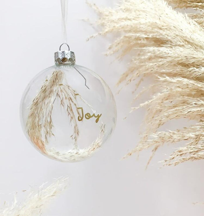 Pampas Glass Christmas Bauble