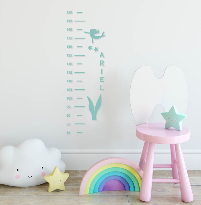 Mermaid Height Chart Wall Decal
