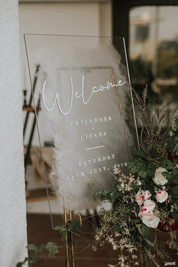 Welcome Wedding Hand-painted Acrylic Signage