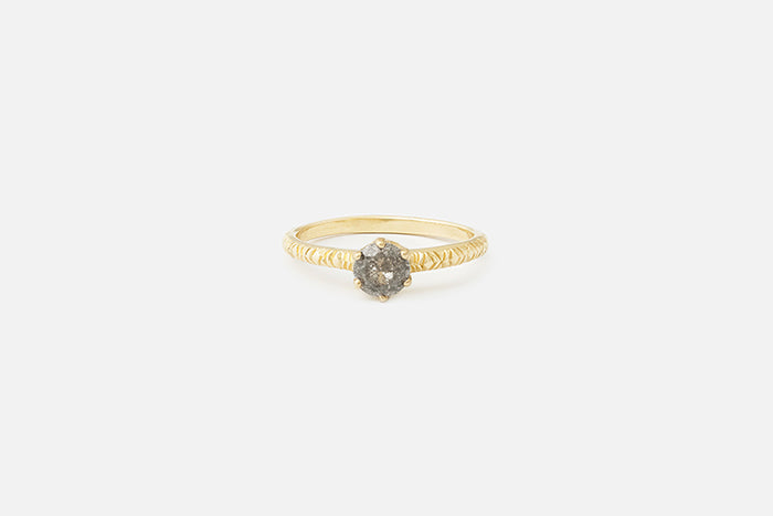 Etched Una Ring // Salt and Pepper Diamond