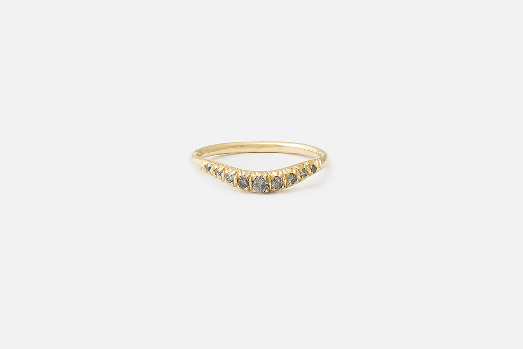 Gray Diamond Pavé Curve I Ring