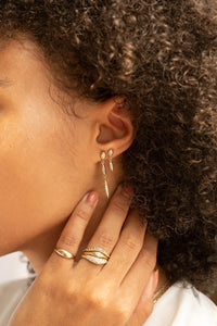 Triple Pavé Seedling Drop Earrings