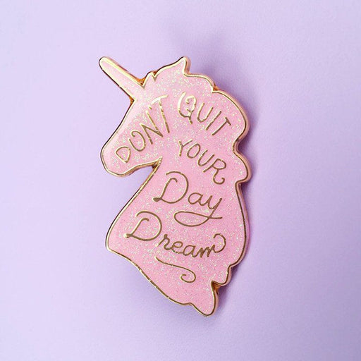 Unicorn Day Dreams Lapel Pin - Pink Iridescent Glitter