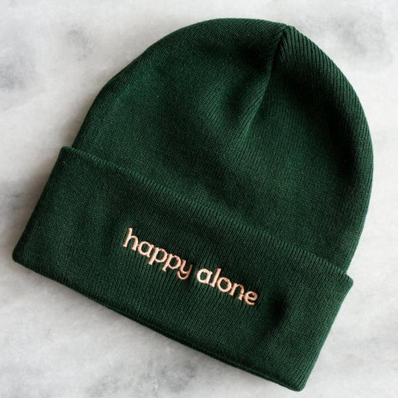 Happy Alone Embroidered Beanie