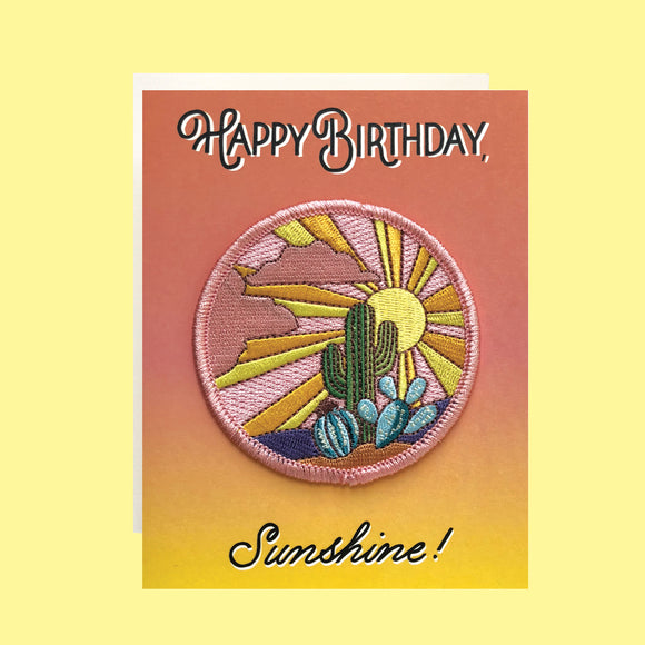 Cactus Sunset Birthday Card+ Patch