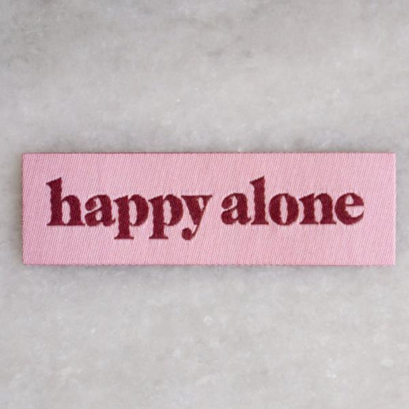 Happy Alone Tiny Woven Patch