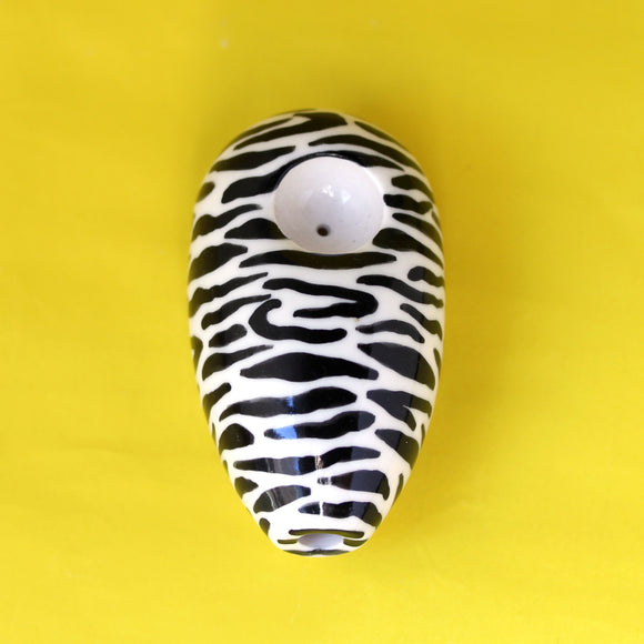 Hand-Painted Zebra Ceramic Pipe