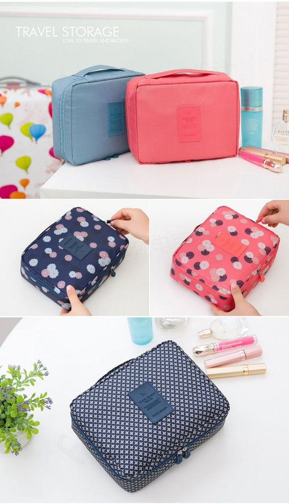43c982aa461a Floral Nylon Zipper Travel Toiletry Bag Cosmetic Makeup Pouch ...