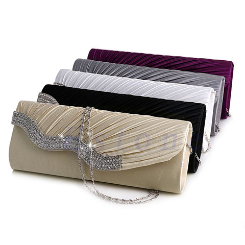 Pleated Satin Diamante Crystal Evening Clutch. Simply elegant.
