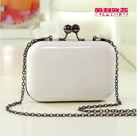 Mini evening bag with detachable chain shoulder strap.  24 variations.