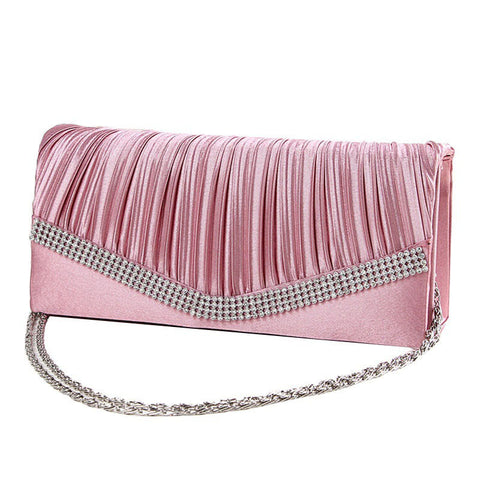 Satin Rhinestone Evening Clutch Bag with chain handle. Soft and elegant in 7 different colours.