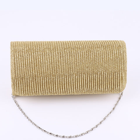 Shimmering Evening Clutch Purse with chain handle.