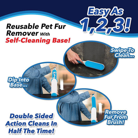 Pet Hair Remover - Dog Cat Fur Brush with Self-Cleaning Base