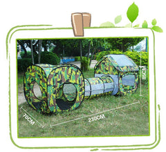 3 in 1 Play Tent Camouflage Shuttle Toy Tent Tunnel Waterproof Kids Playhouse