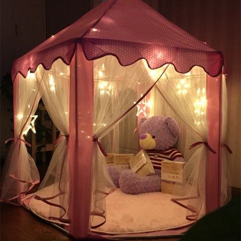 Pink Princess Castle Kids Play Tent Large Children Playhouse for Girls