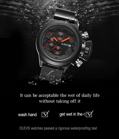 Men Unique Design Red & Orange 3 Chronographs Quartz Wrist Watch