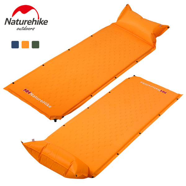 Self-Inflating Camping Sleeping Pad with Attached Inflatable Pillow