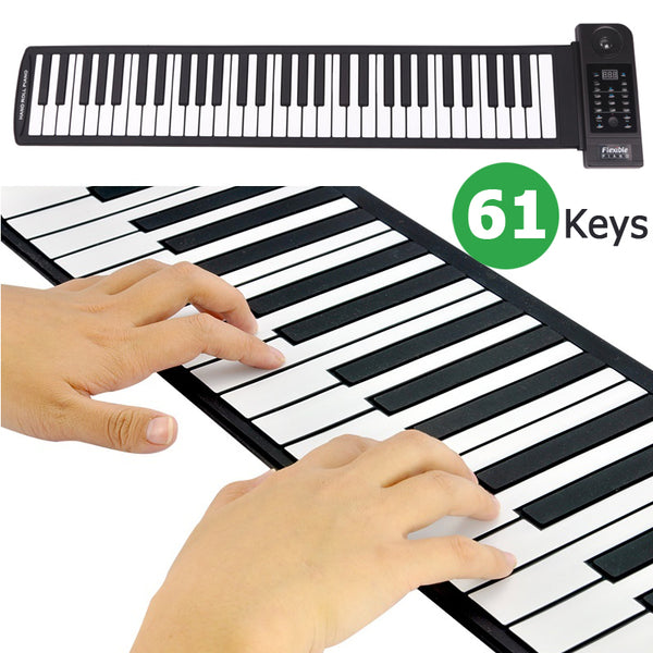 PianoRoll Pro - Portable 61 Keys Roll-Up Flexible Electronic Piano Keyboard