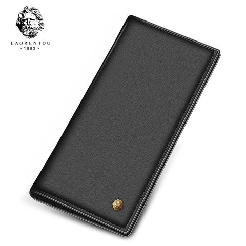 Laorentou Long Style Men Soft Leather Wallet With Card Slot For Business Men
