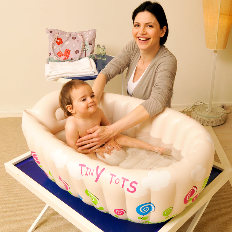 Inflatable Baby Bathtub with Soft Cushion Central Seat – DealShopie