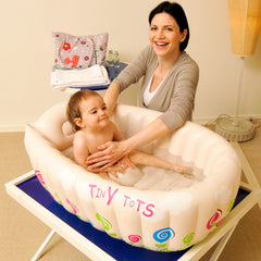Inflatable Baby Bathtub with Soft Cushion Central Seat