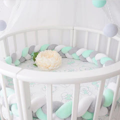 Baby Crib Knotted Bumper Braided Plush Nursery Cradle Decor
